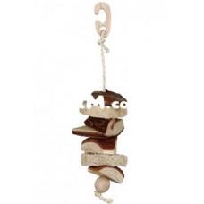 58968 Трикси Игрушка для птиц деревяная с люфой и колокольчиком 30 см