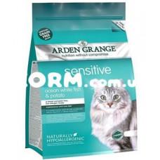 Арден Грендж беззерновой для взрослых кошек с чувствительным пищеварением Океанич.рыба и картофель  400 г